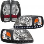 1999 Ford F150 Black Chrome LED DRL Headlights and LED Tail Lights