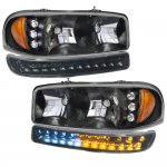 2003 GMC Sierra Black Headlights LED DRL Bumper Lights