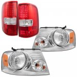 Ford F150 2004-2008 Chrome Headlights and LED Tail Lights Red Clear