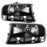 1998 Dodge Durango Black Clear One Piece Headlights