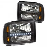 Ford F250 Super Duty 2005-2007 Black Headlights LED Daytime Running Lights