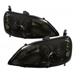 Honda Civic Coupe 2001-2003 JDM Smoked Clear Headlights