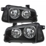 Dodge Charger 2005-2010 Black Clear Headlights Corner Lights