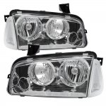 Dodge Charger 2005-2010 Chrome Clear Headlights