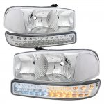 2000 GMC Sierra Chrome Clear Headlights and LED Bumper Lights DRL