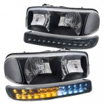 GMC Sierra 2500 1999-2004 Black Clear Headlights and LED Bumper Lights DRL