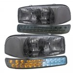 GMC Sierra 1500HD 2001-2006 Smoked Clear Headlights and LED Bumper Lights DRL