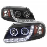1999 Ford F150 Black LED DRL Projector Headlights with Halo