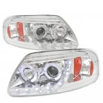 1999 Ford F150 Clear LED DRL Projector Headlights with Halo