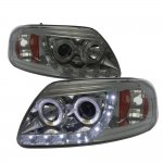 1999 Ford F150 Smoked LED DRL Projector Headlights with Halo