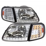 Ford Expedition 1997-2002 Clear Euro Headlights and LED Corner Lights Set