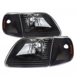 Ford F150 1997-2003 Black Euro Headlights and Corner Lights