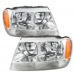 Jeep Grand Cherokee 1999-2004 Clear Euro Headlights