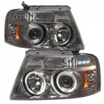 2004 Ford F150 Smoked Halo Projector Headlights with LED