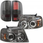 2004 Ford F150 Smoked Halo Projector Headlights and LED Tail Lights