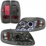 2002 Ford F150 Smoked LED DRL Halo Projector Headlights LED Tail Lights