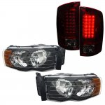 Dodge Ram 2002-2005 Black Headlights and Tinted LED Tail Lights