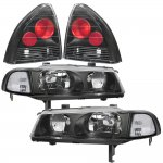 Honda Prelude 1992-1996 Black Clear Headlights and Tail Lights