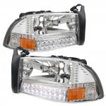 2002 Dodge Durango Clear Euro Headlights with LED Signal Lights