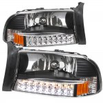 2002 Dodge Durango Black Euro Headlights with LED Signal Lights