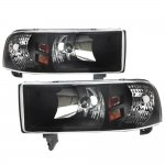 Dodge Ram 1994-2001 Black Euro Headlights