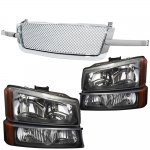 2003 Chevy Silverado 2500HD Chrome Mesh Grille and Black Headlights Set