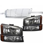 2004 Chevy Silverado Chrome Billet Grille and Black Headlights Set