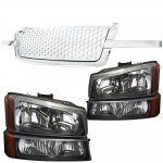 2004 Chevy Silverado 1500HD Chrome Punch Grille and Black Headlights Set