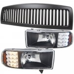 2001 Dodge Ram 2500 Black Vertical Grille and Headlights with LED Signal