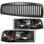 Dodge Ram 2500 1994-2002 Black Vertical Grille and Headlights