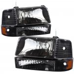 Ford F350 1992-1996 Black Headlights and Bumper Lights Set