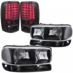 2001 GMC Yukon Black Clear Headlights Set and LED Tail Lights