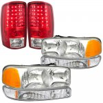 2005 GMC Yukon XL Clear Headlights Set and LED Tail Lights Red Clear