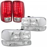 GMC Yukon XL 2000-2006 Chrome Clear Headlights Set and LED Tail Lights Red Clear