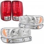 GMC Yukon XL 2000-2006 Clear LED DRL Headlights Set and LED Tail Lights Red Clear