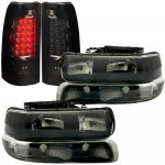 Chevy Silverado 2500HD 2001-2002 Black Smoked Headlights Set and LED Tail Lights