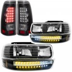 Chevy Silverado 2500HD 2001-2002 Black Headlights LED DRL and LED Tail Lights
