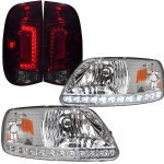1999 Ford F150 Clear LED DRL Headlights and Tinted Custom LED Tail Lights