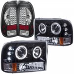 Ford F350 Super Duty 1999-2004 Smoked Halo Projector Headlights and LED Tail Lights Black Chrome