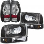 2001 Ford F250 Super Duty Black Headlights Set and LED Tail Lights Black Chrome