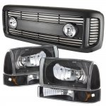 2002 Ford F250 Super Duty Black Grille with Fog Lights and Headlights Set