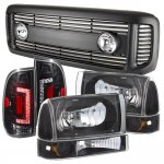 Ford F350 Super Duty 1999-2004 Black Grille Headlights Set and Custom LED Tail Lights