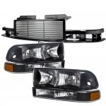 2002 Chevy S10 Black Billet Grille and Headlights Bumper Lights