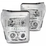 Ford F250 Super Duty 2011-2016 Chrome Clear Halo Projector Headlights LED DRL