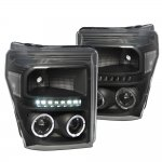 2011 Ford F450 Super Duty Black Clear Halo Projector Headlights LED DRL