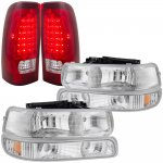 Chevy Silverado 2500HD 2001-2002 Chrome Headlights and LED Tail Lights Red Clear