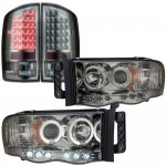 2005 Dodge Ram 3500 Smoked Halo Projector Headlights and LED Tail Lights