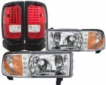 1997 Dodge Ram Chrome DRL Headlights and LED Tail Lights Red Clear
