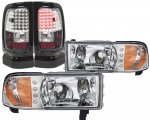 1997 Dodge Ram Chrome LED DRL Headlights and LED Tail Lights Black Chrome