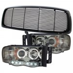 Dodge Ram 2500 2003-2005 Black Billet Grille and Smoked Projector Headlights